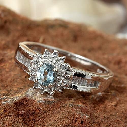 (Montana Sapphire, White Topaz Platinum Over Sterling Silver Ring KS-103)