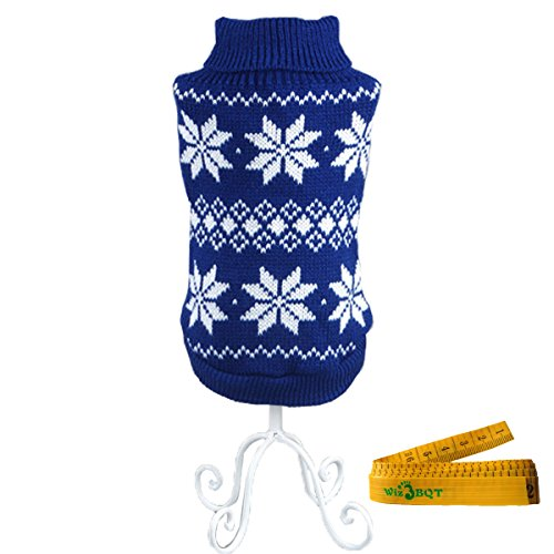 Pet Dog Cat Christmas Snowflake Sweater for Dogs & Cats (Blue & White, Extra Large) by Wiz BBQT (Snow White Dog Costume)
