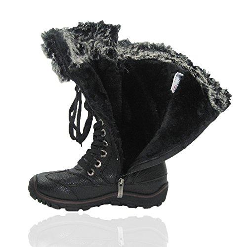 Comfy Moda Donna Inverno Snow Snow Boots Tempo Freddo Faux Fur Full Chicago Nero Foderato