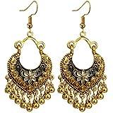 Ethnic Brocade Gypsy Engraved Flower Tassel Bells Hook Earrings Long Hollow Dangle Earrings for Women and Girls (Black(Gold))