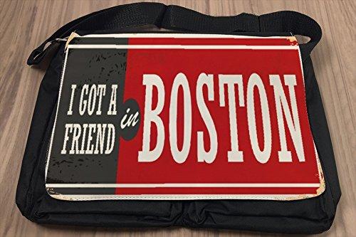 Borsa Tracolla Voglia Viaggiare Città Boston USA Stampato