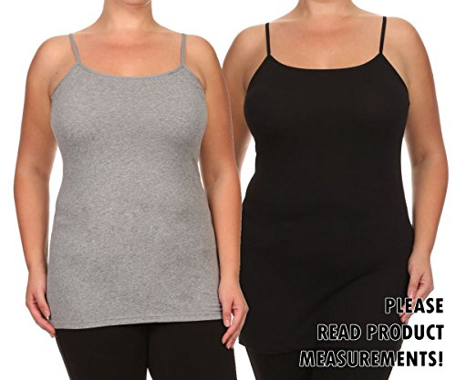 Womens Casual Layering Stretch Cotton Tank Top with Adjustable Elastic Straps (3X, 2 Pack Black & Heather Grey)