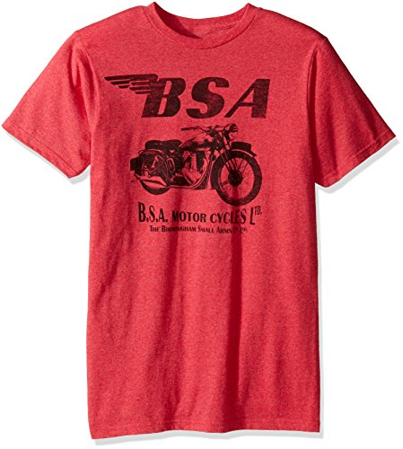 T-Line Men's BSA Motorcycles 500 1 Color Graphic T-Shirt, Heather Red, Large