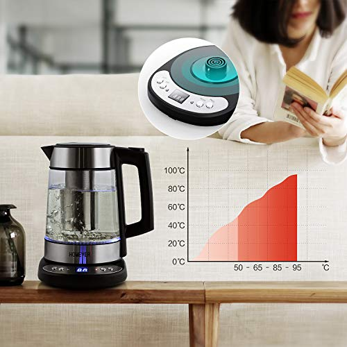 Homever Kettle, Electric Water Kettle, Tea Kettle, Thermostatic Kettle with Adjustable Temperature Electric Cordless Glass Kettle with Strainer 1.7L 1500W, Auto Shut-Off and Boil-Dry Protection by Homever (Image #5)