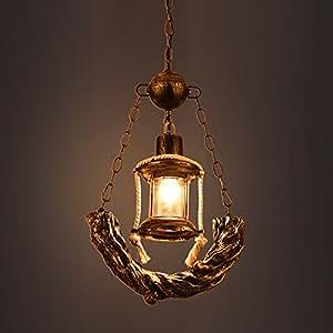 MGCHD European-style Retro Village Antique Bar Lamp Aisle Single Head Resin Iron Chandelier Size: 30.5 53cm A+