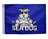 12×18 SEA DOG 12″x18″ Blue Double Sided Nylon Flag Weatherproof Boat Sea Dog Nautical Collection Banner