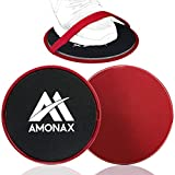 Amonax Gliding Disc, Double Sided Core Slider with Straps for Fitness Exercise at Gym & Home (Red)
