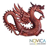 NOVICA East Meets West Suar Wood Relief Panel, Brown, 'Winged Dragon Figure'
