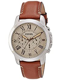 Fossil Men's FS5118 Stainless Steel Watch with Brown Leather Band