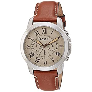 Fossil Hombres FS5118 Acero Inoxidable Reloj con Cafe Cuero Band ... 0c7d0095a757