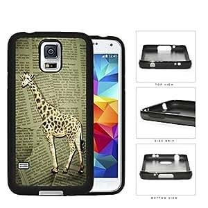 Safari Giraffe On Scrap Newspaper Rubber Silicone TPU Cell Phone Case Samsung Galaxy S5 SM-G900 by runtopwell