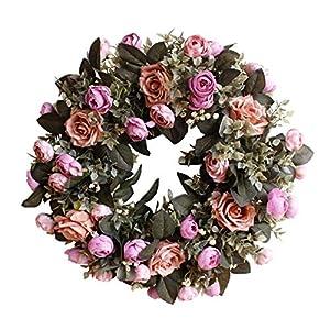 "Evoio Artificial Flower Wreath, 17.7""/45cm Artificial Rose Wreaths DIY Silk Flowers Garland Pendant for Front Door Wall Home Wedding Decoration Circular (Brown) 9"
