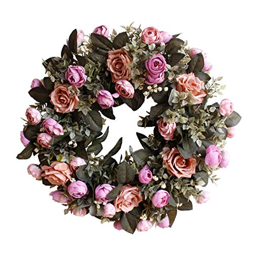 "Evoio Artificial Flower Wreath, 17.7""/45cm Artificial Rose Wreaths DIY Silk Flowers Garland Pendant for Front Door Wall Home Wedding Decoration Circular (Brown)"