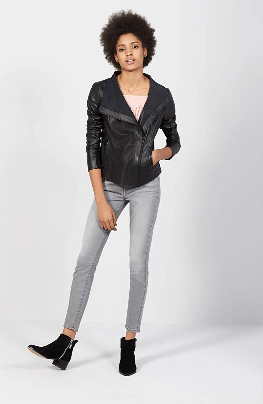 DashX Slim Fit Raw Edge Genuine Womens Long Sleeve Full Zipper Leather Jacket Black