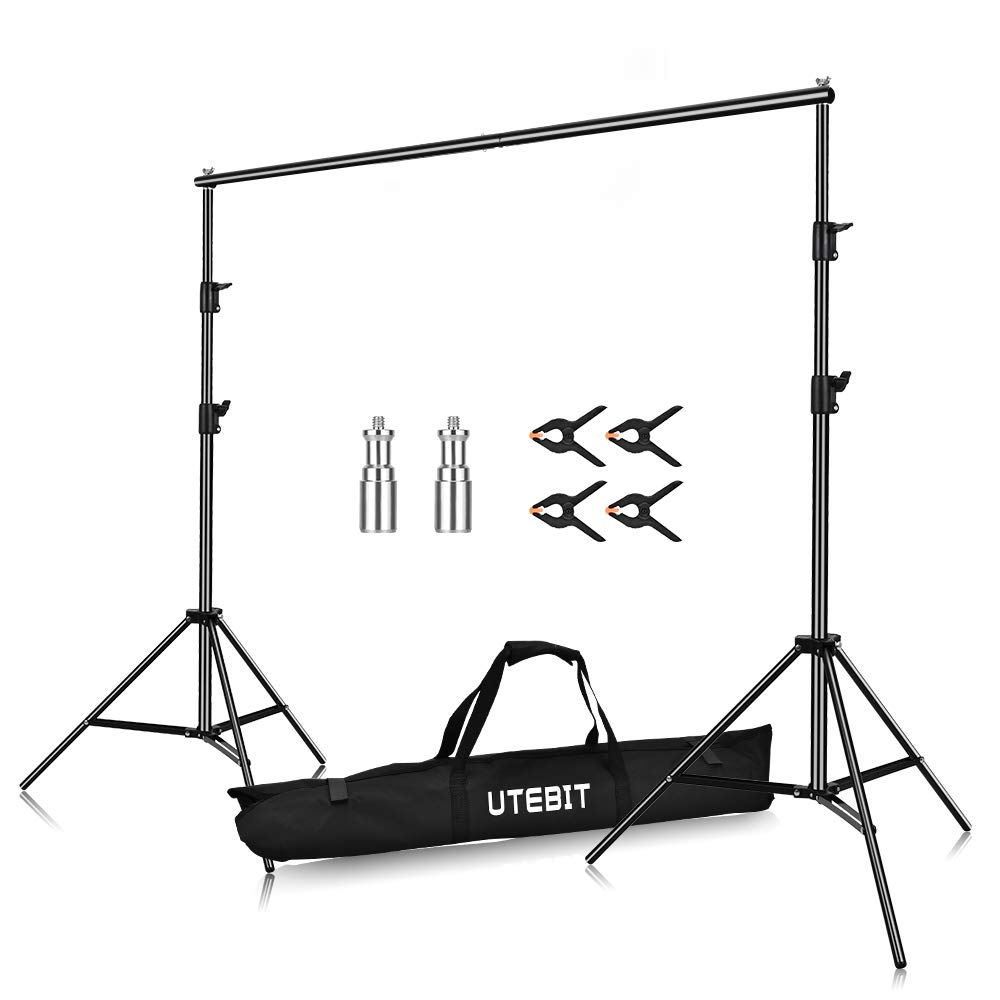 UTEBIT 5x7 Backdrop Stand Photography Collapsible Heavy Duty Photo Background Stand 1.5 x 2M Backdrops Support System for Photo Studio, Portrait and Video Shooting Photography