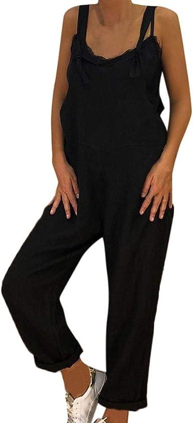 HIUPEB Womens Plus Size Cotton Linen Oversized Jumpsuit Overall Romper S-4XL