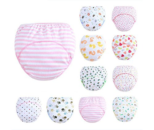 5pcs/lot Printing Candy Colored Potty Training Baby Pants Cloth Nappy Urine Learning Underpants Toilet Child Trainer Underwear Mix (Nappy Candy)