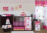Pink and Orange Butterfly Flower Baby Girl Bedding 11 pc Crib Set without bumper