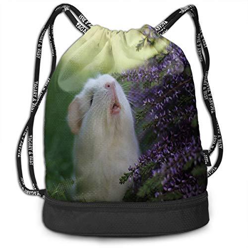 drawstring bag grass white mouse