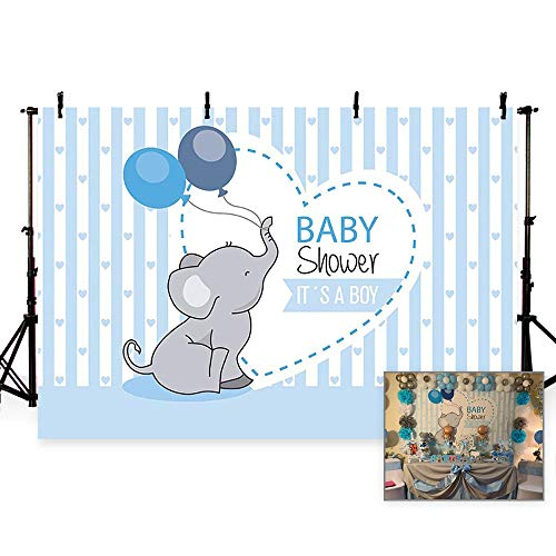 MEHOFOTO Photo Background Cute Blue Stripe Prince Boy Baby Shower Balloon Elephant Love Party Backdrops Banner for Photography 7x5ft]()