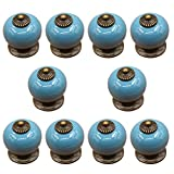 Ozzptuu 10PCS Ceramic Pumpkin Style Door Knobs Lovely Candy Color Door Pull Handle for Drawer Furniture with Single Hole Design (Blue)
