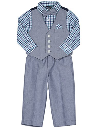 Nautica Boys' 4-Piece Vest Set with Dress Shirt, Bow Tie, Vest, and Pants, Dark Cobalt Oxford, 18 Months