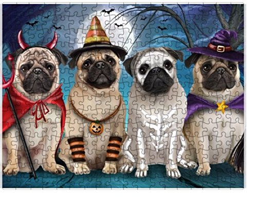 Happy Halloween Trick or Treat Pugs Dog in Costumes Puzzle with Photo Tin (252 (Pictures Of Pugs In Costumes)