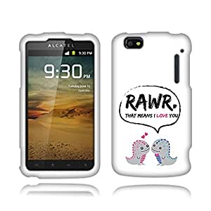 Fincibo (TM) Alcatel One Touch 960C Authority Protector Cover Case Snap On Hard Plastic - Dinosaurs Love Story, Front And Back