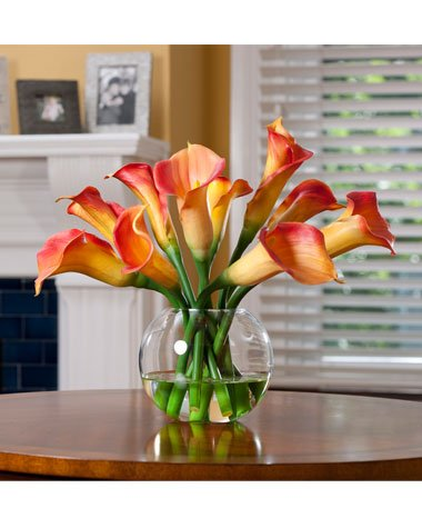 Calla Lily Silk Centerpiece - Orange by Silkflowers.com