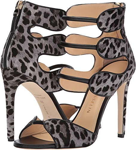 Chloe Gosselin Women's Larkspur Calf Suede Heel Cheetah Grey 39 M EU