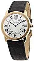 Cartier Men's W6700455 Ronde Black Leather Roman Numeral Watch by Cartier