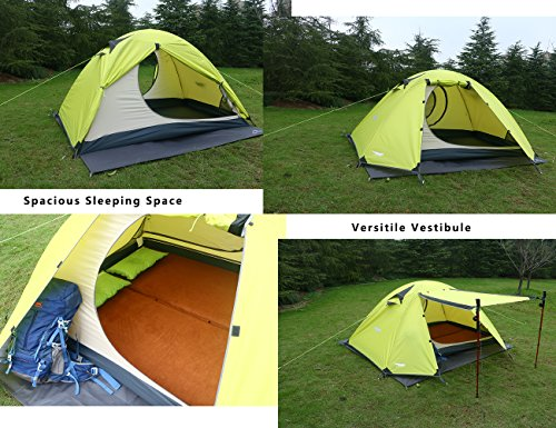 Amazon.com  Luxe Tempo 2 Person 4 Season Tents Freestanding for C&ing Backpacking Aluminum Poles All Weather Tested u0026 Approved 2 Door 2 Vestibules ... : 2 person tent with vestibule - memphite.com