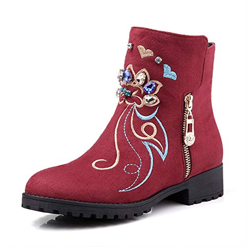 Talon à à Haut Bottines pour Warm Wine Bout Red Femme Rond IZdRF