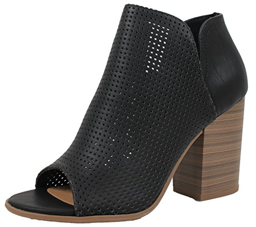 Block Bootie Stacked Heel Soda Open Women's Perforated Black Toe Ankle wqvqfXgA