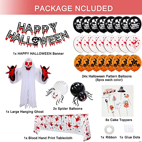 Halloween Decorations Scary Indoor Set Halloween Party Decor Favors Backdrop Banner Bloody Garland Banner Bloody Tablecloth Balloons for Halloween Horror Zombie Vampire Haunted House