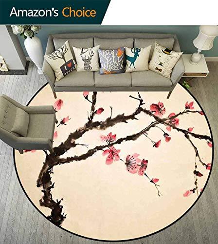- Japanese Round Rug for Tent,Traditional Chinese Paint of Figural Tree with Details Brushstroke Effects Print Room's Decor,Pink Brown,D-55