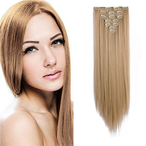 "Price comparison product image OneDor 24"" Straight Full Head Clip in Synthetic Hair Extensions 7pcs 140g (25#-Light Golden Blonde)"