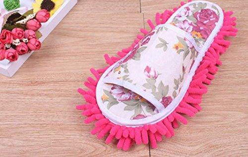 Sagton Women Dust Mop Slippers Socks Microfiber House Slippers Bedroom Shoes Hot Pink GBig8