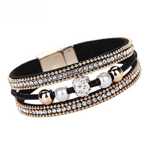 DDLBiz Women Fashion Crystal Beaded Multilayer Bangle Bracelet Leather Magnetic Wristband (Black)