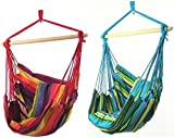Sunnydaze Hanging Hammock Swing for Indoor/Outdoor (Set of 2), Ocean Breeze/Sunset