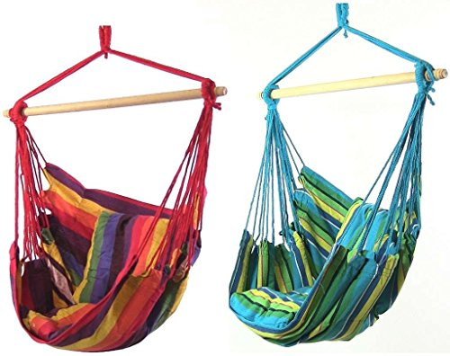 - Sunnydaze Hanging Hammock Swing for Indoor/Outdoor (Set of 2), Ocean Breeze/Sunset