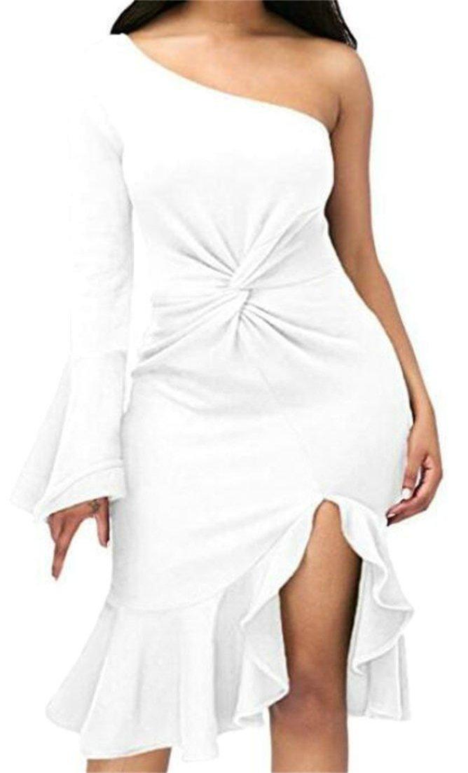 ouxiuli Women¡¯s Oblique Shoulder Slim Solid Color Mid Long Clubwear Ruffle Irregular Dresses