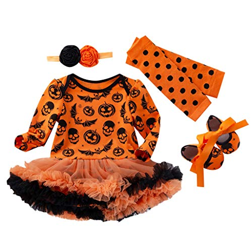 Little Girl Tutu Scarecrow Costumes - Juesi Baby Girl First Halloween Outfit Costume Tutu Romper Headband Leg Warmer