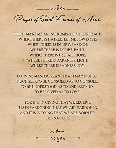 Original Prayer of Saint Francis of Assisi Quote Poster Prints, Set of 1 (11x14) Unframed Photo, Great Wall Art Decor Gifts Under 15 for Home, Office, Man Cave, Student, Teacher, School & Church Fan (Picture Francis St)