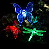 3 Pack Outdoor Solar Light Dragonfly Butterfly Bird Multi-color Changing Decorative Garden Lights with a White LEDs Stake Light (A)