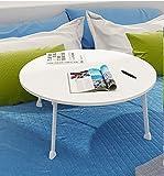 GFL Home Dining Table, Laptop Desk/Small Desk Size: Diameter 60cm Height 28cm Roundtable (Multi-colour Optional) Computer Tables (Color : White)