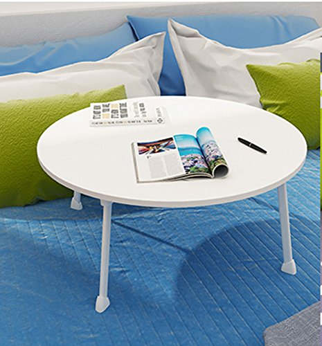 GFL Home Dining Table, Laptop Desk/Small Desk Size: Diameter 60cm Height 28cm Roundtable (Multi-colour Optional) Computer Tables (Color : White) by GFL