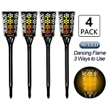 CINOTON Solar Tiki Torches Upgraded,solar flame torch lights outdoor, Landscape Decoration Lighting, Dusk to Dawn Security Warm Light Garden Patio Deck Yard Driveway (4 PACK)
