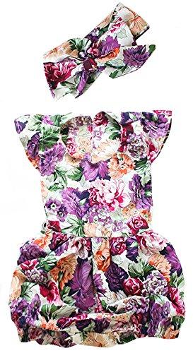 (2Bunnies Newborn Toddler Baby Girl Striped Romper Bodysuit+Headband Sunsuit Outfit Set (18 Months, Purple))