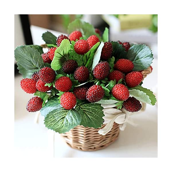 DMtse 20 Artificial Ornament Red Strawberry-Fake Plastic Fruit